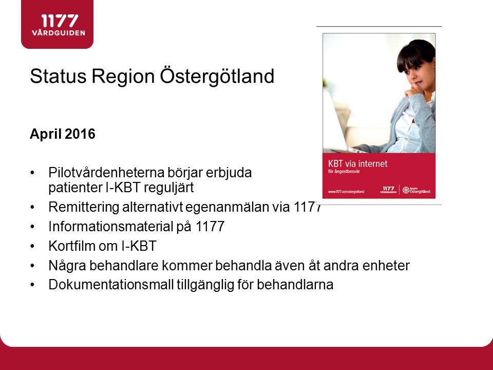 April 2016 Pilotvårdenheterna börjar erbjuda patienter I-KBT reguljärt Remittering alternativt egenanmälan via 1177 Informationsmaterial på 1177 Kortfilm om I-KBT Några behandlare kommer behandla även åt andra enheter Dokumentationsmall tillgänglig för behandlarna Status Region Östergötland