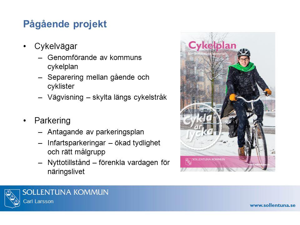 Carl Larsson Pågående projekt Cykelvägar –Genomförande av kommuns cykelplan –Separering mellan gående och cyklister –Vägvisning – skylta längs cykelst
