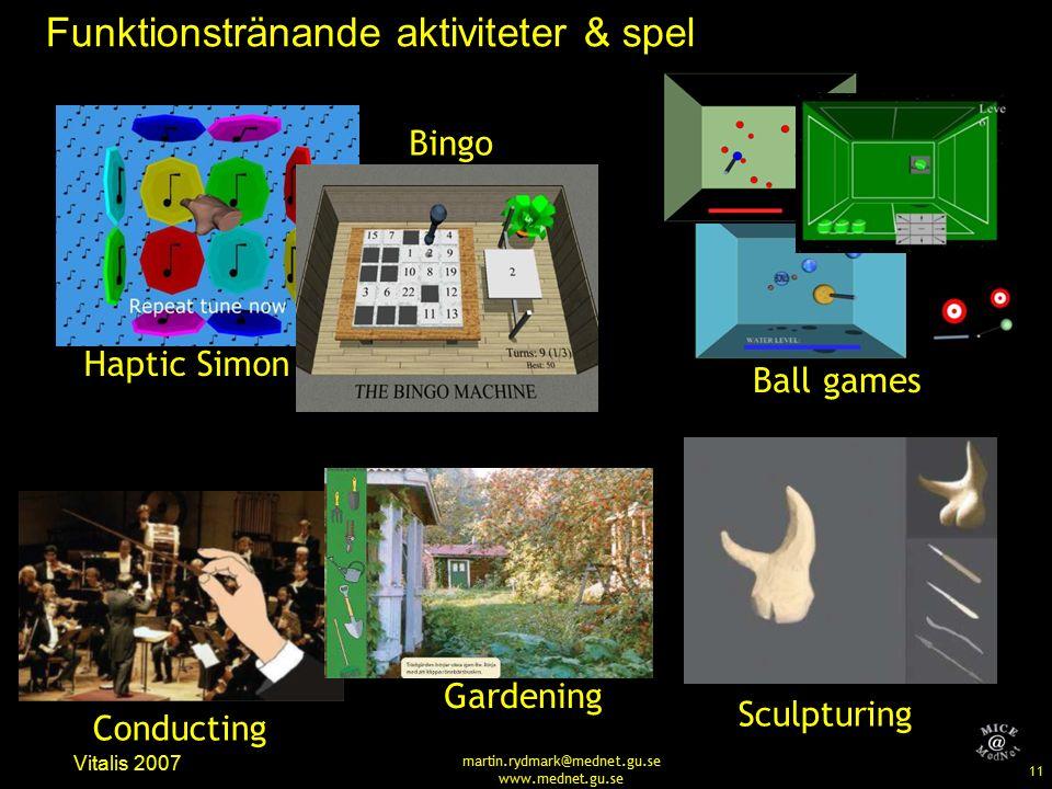 11 Vitalis 2007 martin.rydmark@mednet.gu.se www.mednet.gu.se Funktionstränande aktiviteter & spel Haptic Simon Bingo Ball games Conducting Gardening Sculpturing