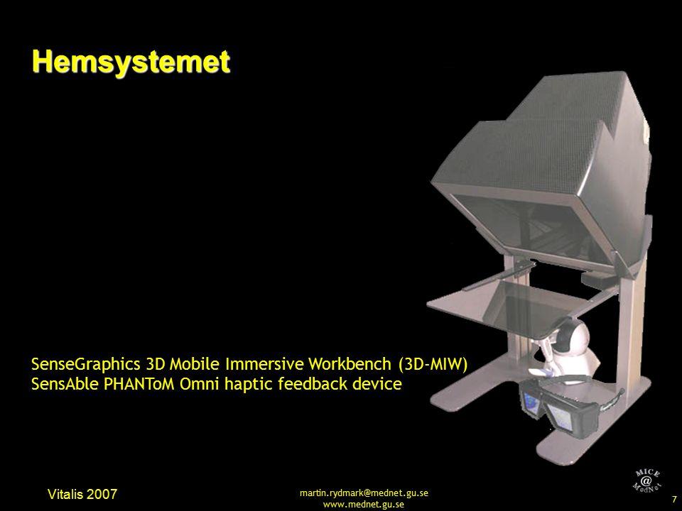 7 Vitalis 2007 martin.rydmark@mednet.gu.se www.mednet.gu.se Hemsystemet SenseGraphics 3D Mobile Immersive Workbench (3D-MIW) SensAble PHANToM Omni haptic feedback device