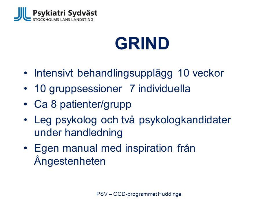GRIND Intensivt behandlingsupplägg 10 veckor 10 gruppsessioner 7 individuella Ca 8 patienter/grupp Leg psykolog och två psykologkandidater under handledning Egen manual med inspiration från Ångestenheten PSV – OCD-programmet Huddinge