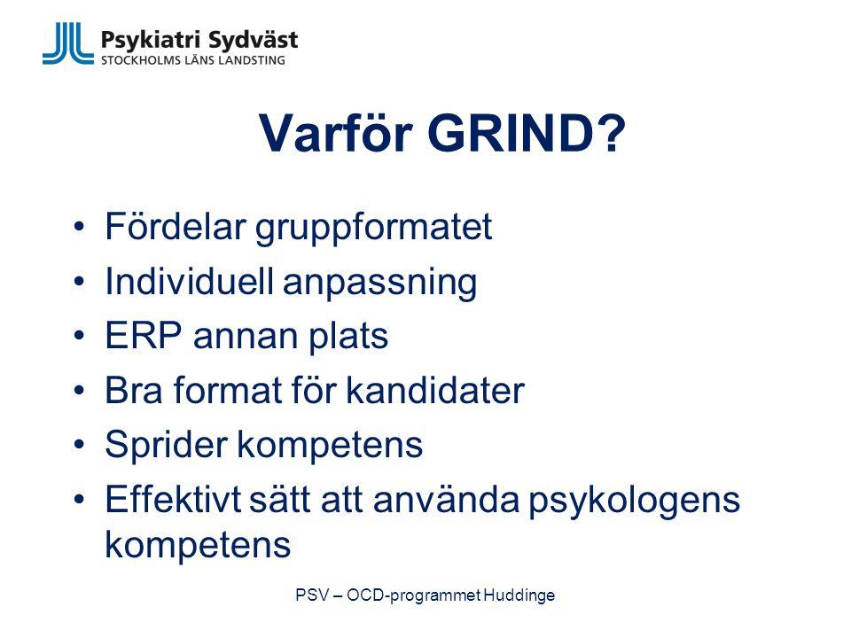 Individuell behandling Inklusionskriterier: –Komorbiditet som försvårar behandling (tex missbruk, neuropsykiatriskt funktionshinder, suicidalitet/självskadebeteende, ätstörning, personlighetsstörning, framträdande socialfobiska besvär som försvårar deltagande i grupp) –Svårigheter med att genomföra ERP och hemuppgifter –Ej tillräckliga kunskaper i svenska (tal & skrift) PSV – OCD-programmet Huddinge