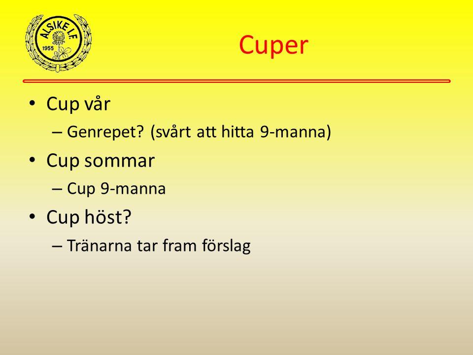 Cuper Cup vår – Genrepet? (svårt att hitta 9-manna) Cup sommar – Cup 9-manna Cup höst? – Tränarna tar fram förslag