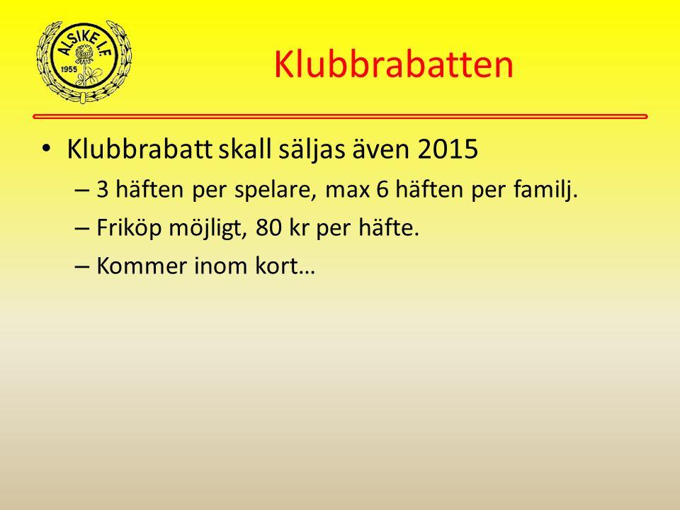 Klubbrabatten Klubbrabatt skall säljas även 2015 – 3 häften per spelare, max 6 häften per familj. – Friköp möjligt, 80 kr per häfte. – Kommer inom kor