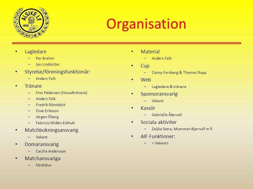 Organisation Lagledare – Per Brahm – Jan Lindström Styrelse/föreningsfunktionär: – Anders Falk Tränare – Finn Pedersen (Huvudtränare) – Anders Falk –