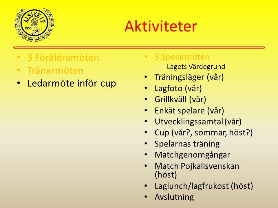 Föräldraorganisationen fyllas i (se sidan 3) Träningsläger Åland och Seriespel 2015 För spelarens bästa Klubbrabatten Material En utförlig Årsplan kommer att finnas på hemsidan under Dokument