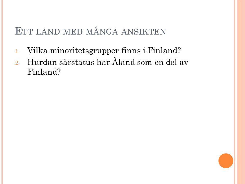 E TT LAND MED MÅNGA ANSIKTEN 1. Vilka minoritetsgrupper finns i Finland.