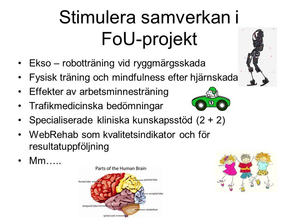 Stimulera samverkan i FoU-projekt Ekso – robotträning vid ryggmärgsskada Fysisk träning och mindfulness efter hjärnskada Effekter av arbetsminnesträning Trafikmedicinska bedömningar Specialiserade kliniska kunskapsstöd (2 + 2) WebRehab som kvalitetsindikator och för resultatuppföljning Mm…..