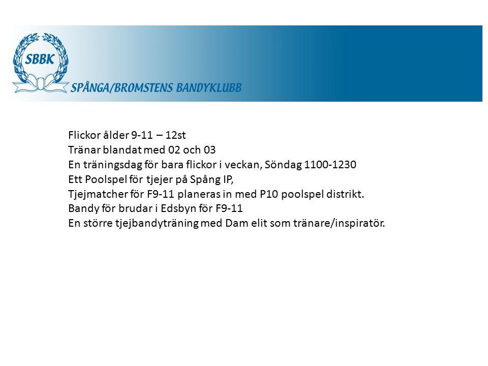SBBK Flickor ålder 9-11 – 12st Tränar blandat med 02 och 03 En träningsdag för bara flickor i veckan, Söndag 1100-1230 Ett Poolspel för tjejer på Spång IP, Tjejmatcher för F9-11 planeras in med P10 poolspel distrikt.