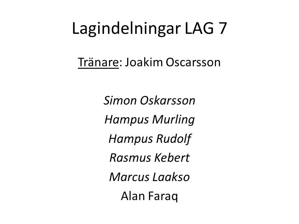 Lagindelningar LAG 7 Tränare: Joakim Oscarsson Simon Oskarsson Hampus Murling Hampus Rudolf Rasmus Kebert Marcus Laakso Alan Faraq