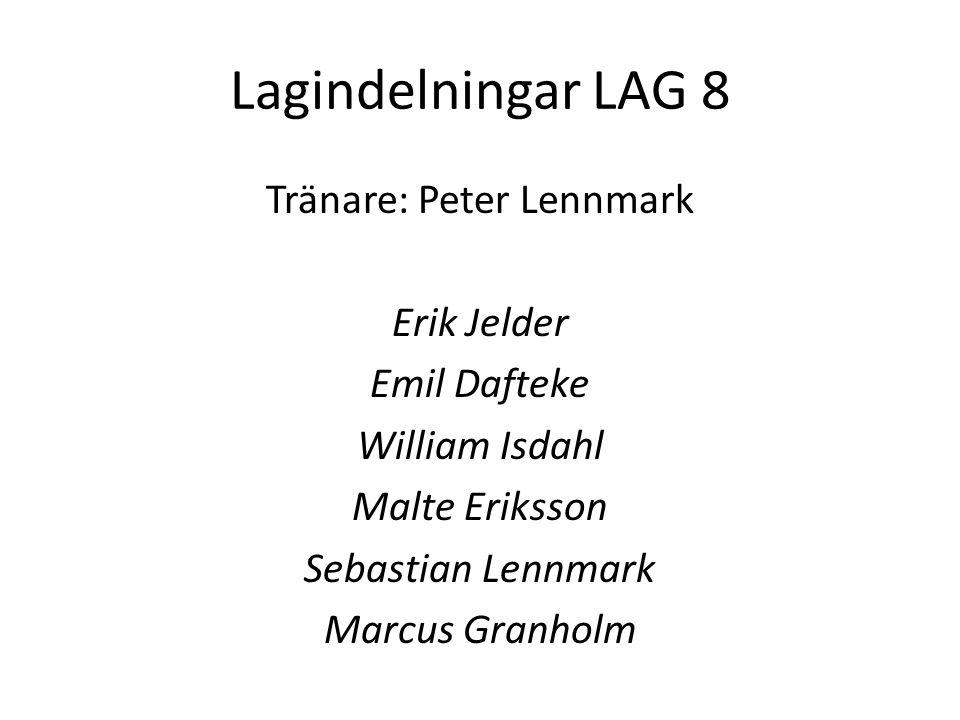 Lagindelningar LAG 8 Tränare: Peter Lennmark Erik Jelder Emil Dafteke William Isdahl Malte Eriksson Sebastian Lennmark Marcus Granholm