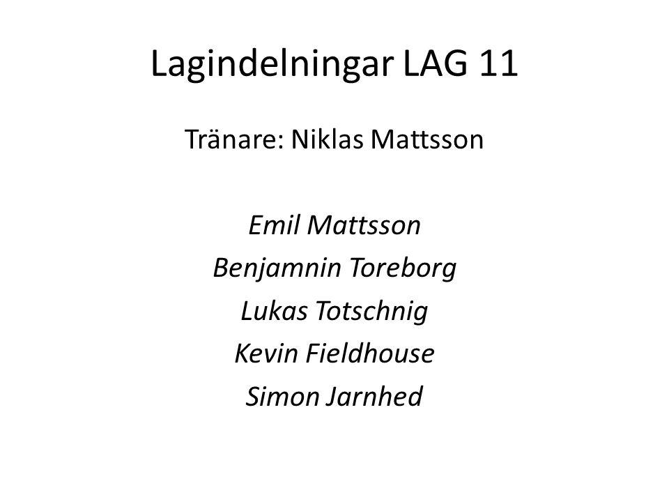 Lagindelningar LAG 11 Tränare: Niklas Mattsson Emil Mattsson Benjamnin Toreborg Lukas Totschnig Kevin Fieldhouse Simon Jarnhed