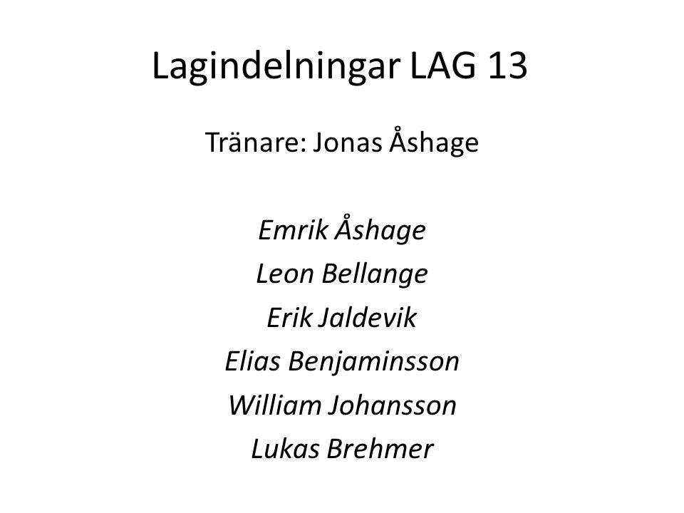 Lagindelningar LAG 13 Tränare: Jonas Åshage Emrik Åshage Leon Bellange Erik Jaldevik Elias Benjaminsson William Johansson Lukas Brehmer