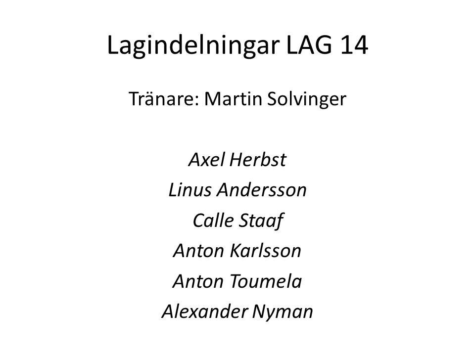Lagindelningar LAG 14 Tränare: Martin Solvinger Axel Herbst Linus Andersson Calle Staaf Anton Karlsson Anton Toumela Alexander Nyman