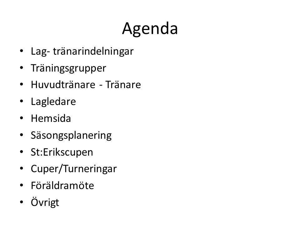 Agenda Lag- tränarindelningar Träningsgrupper Huvudtränare - Tränare Lagledare Hemsida Säsongsplanering St:Erikscupen Cuper/Turneringar Föräldramöte Övrigt