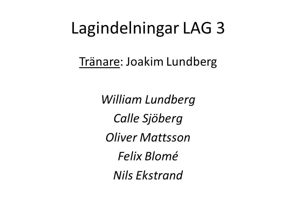 Lagindelningar LAG 4 Tränare: Thomas Eklund Felix Eklund Emil Pettersson Jonathan Eriksson Oskar Olsson Mattias Österblad Viktor Olausson
