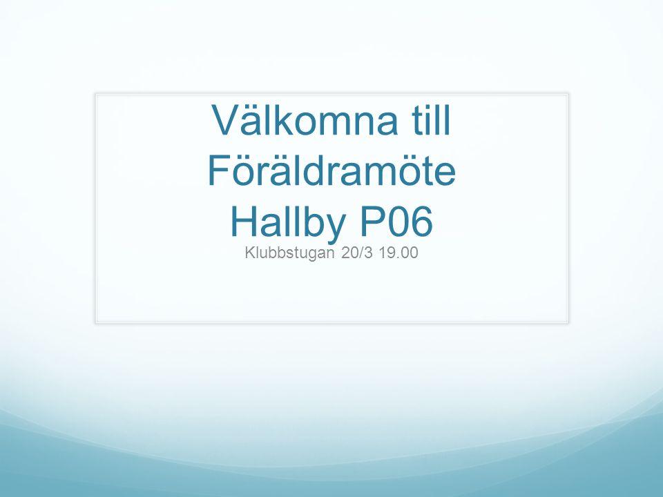 Välkomna till Föräldramöte Hallby P06 Klubbstugan 20/3 19.00