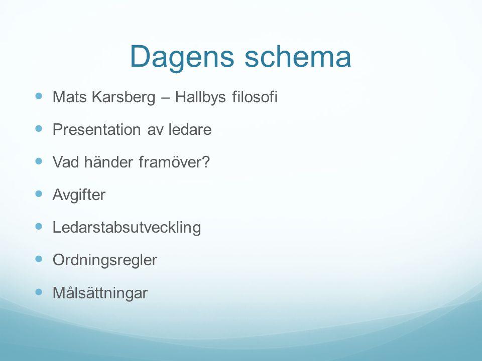 Dagens schema Mats Karsberg – Hallbys filosofi Presentation av ledare Vad händer framöver? Avgifter Ledarstabsutveckling Ordningsregler Målsättningar