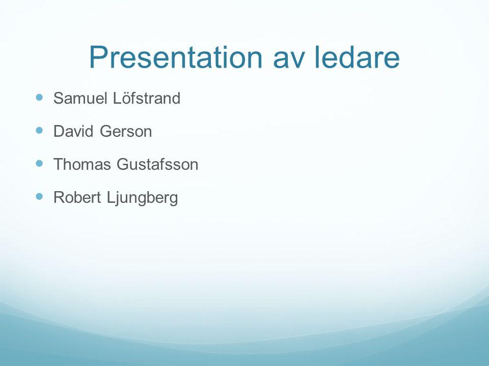 Presentation av ledare Samuel Löfstrand David Gerson Thomas Gustafsson Robert Ljungberg