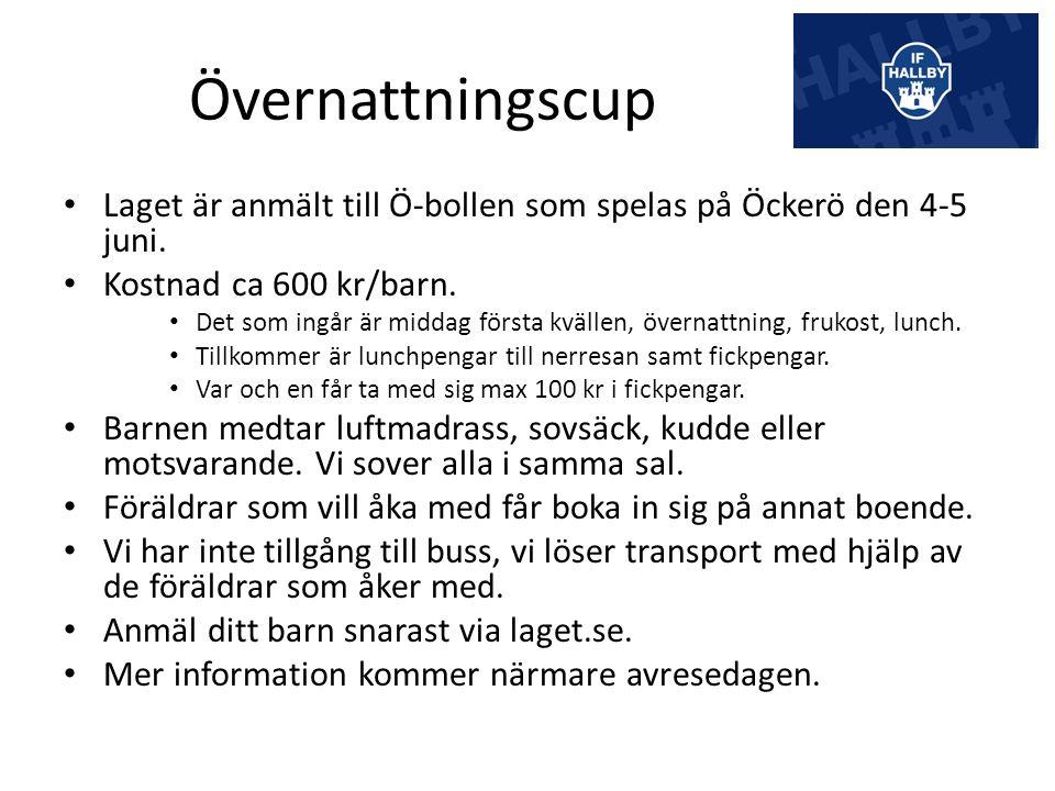 Övernattningscup Laget är anmält till Ö-bollen som spelas på Öckerö den 4-5 juni.