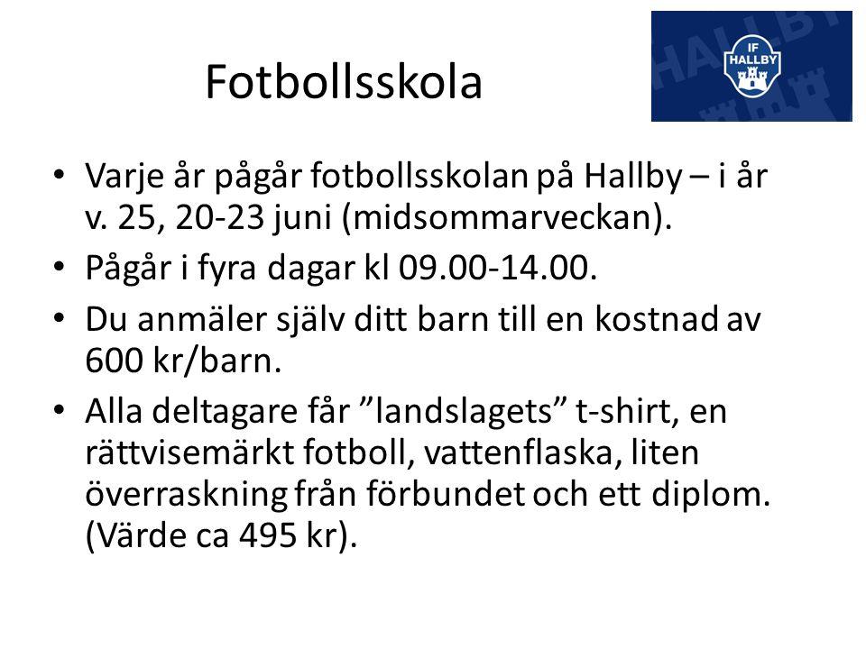 Fotbollsskola Varje år pågår fotbollsskolan på Hallby – i år v.