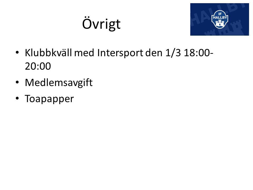 Övrigt Klubbkväll med Intersport den 1/3 18:00- 20:00 Medlemsavgift Toapapper