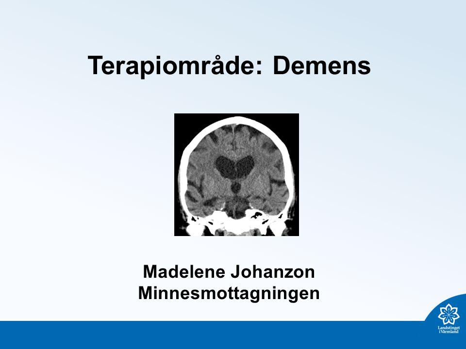 Terapiområde: Demens Madelene Johanzon Minnesmottagningen