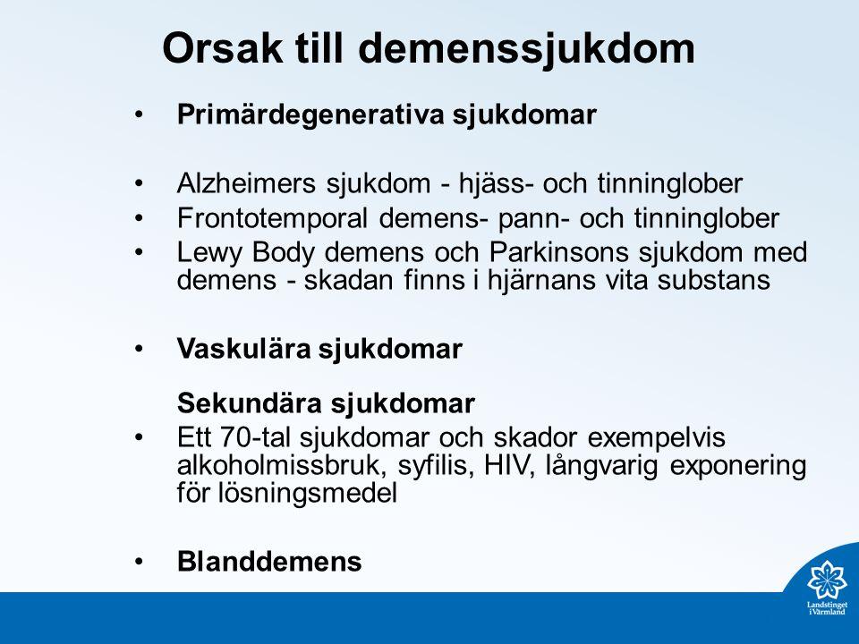 Orsak till demenssjukdom Primärdegenerativa sjukdomar Alzheimers sjukdom - hjäss- och tinninglober Frontotemporal demens- pann- och tinninglober Lewy Body demens och Parkinsons sjukdom med demens - skadan finns i hjärnans vita substans Vaskulära sjukdomar Sekundära sjukdomar Ett 70-tal sjukdomar och skador exempelvis alkoholmissbruk, syfilis, HIV, långvarig exponering för lösningsmedel Blanddemens