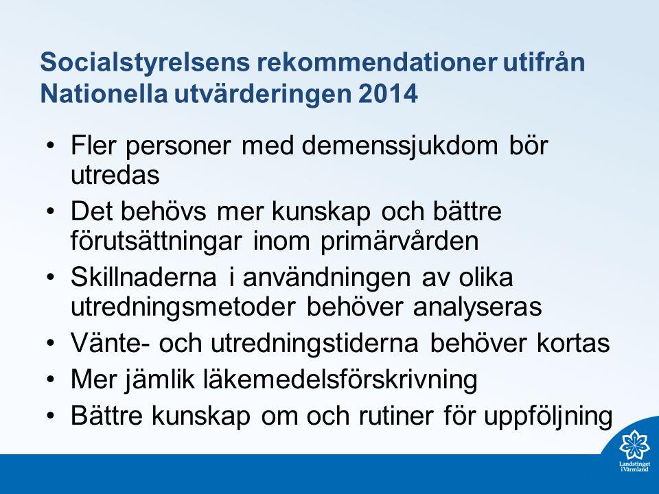 Socialstyrelsens rekommendationer utifrån Nationella utvärderingen 2014 Fler personer med demenssjukdom bör utredas Det behövs mer kunskap och bättre förutsättningar inom primärvården Skillnaderna i användningen av olika utredningsmetoder behöver analyseras Vänte- och utredningstiderna behöver kortas Mer jämlik läkemedelsförskrivning Bättre kunskap om och rutiner för uppföljning