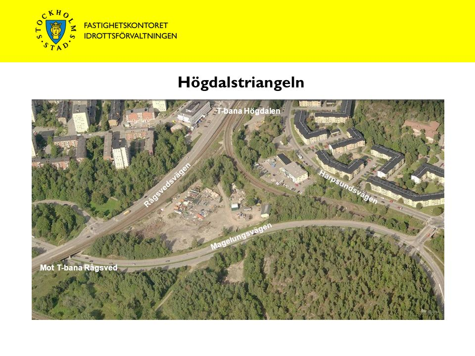 Högdalstriangeln T-bana Högdalen Rågsvedsvägen Mot T-bana Rågsved Magelungsvägen Harpsundsvägen