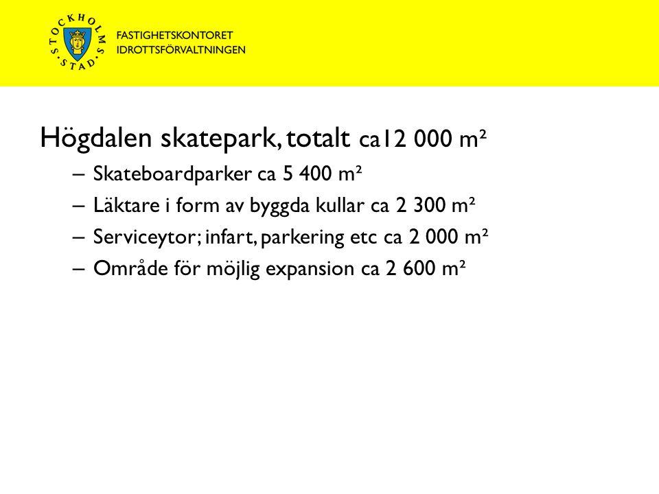 Högdalen skatepark, totalt ca12 000 m² – Skateboardparker ca 5 400 m² – Läktare i form av byggda kullar ca 2 300 m² – Serviceytor; infart, parkering etc ca 2 000 m² – Område för möjlig expansion ca 2 600 m²