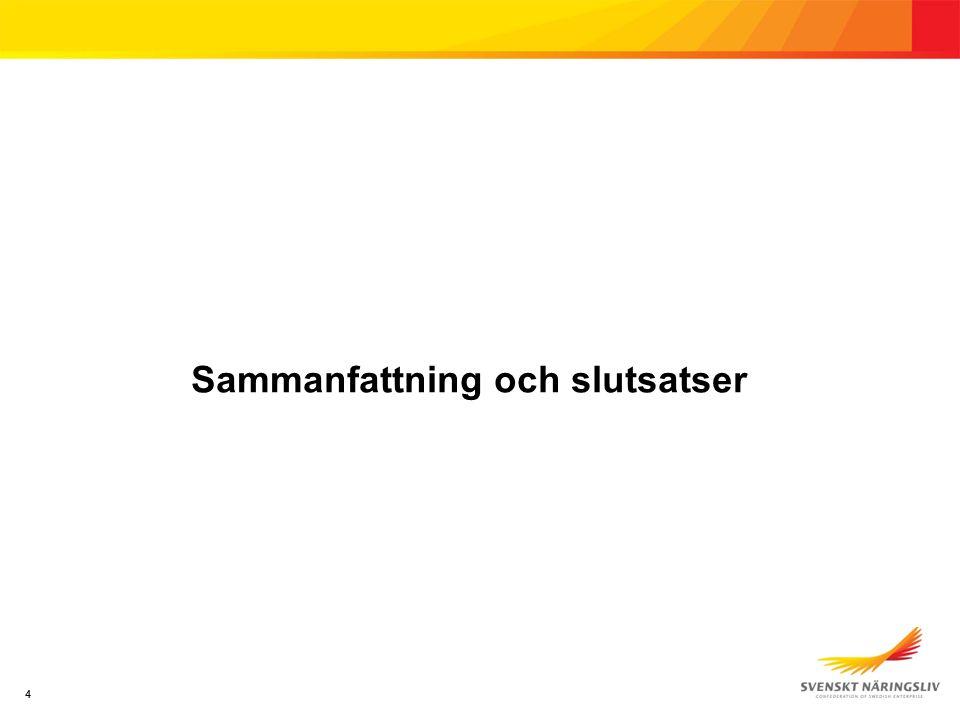 Slutsatser Förväntad försämring av Sveriges ekonomi Hälften är pessimistiska om den svenska ekonomin på ett års sikt.