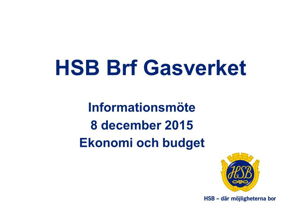 HSB Brf Gasverket Informationsmöte 8 december 2015 Ekonomi och budget