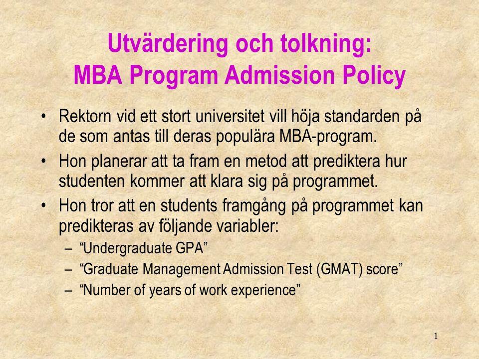 1 Utvärdering och tolkning: MBA Program Admission Policy Rektorn vid ett stort universitet vill höja standarden på de som antas till deras populära MBA-program.