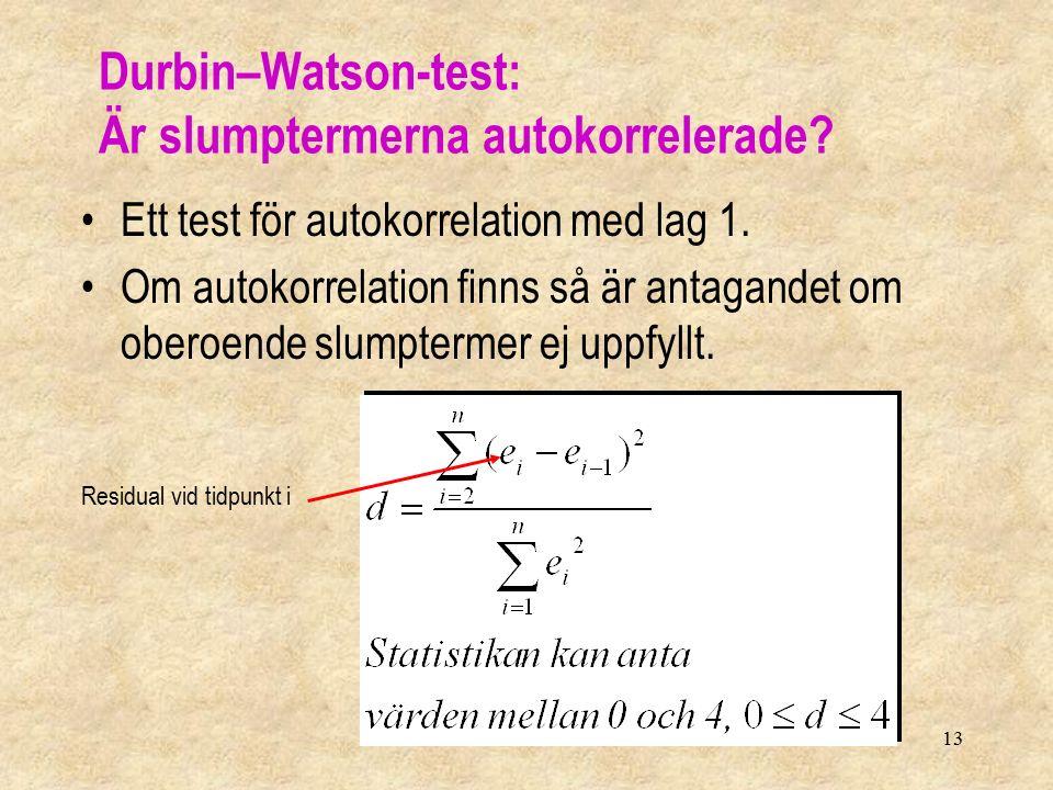13 Durbin–Watson-test: Är slumptermerna autokorrelerade? Ett test för autokorrelation med lag 1. Om autokorrelation finns så är antagandet om oberoend