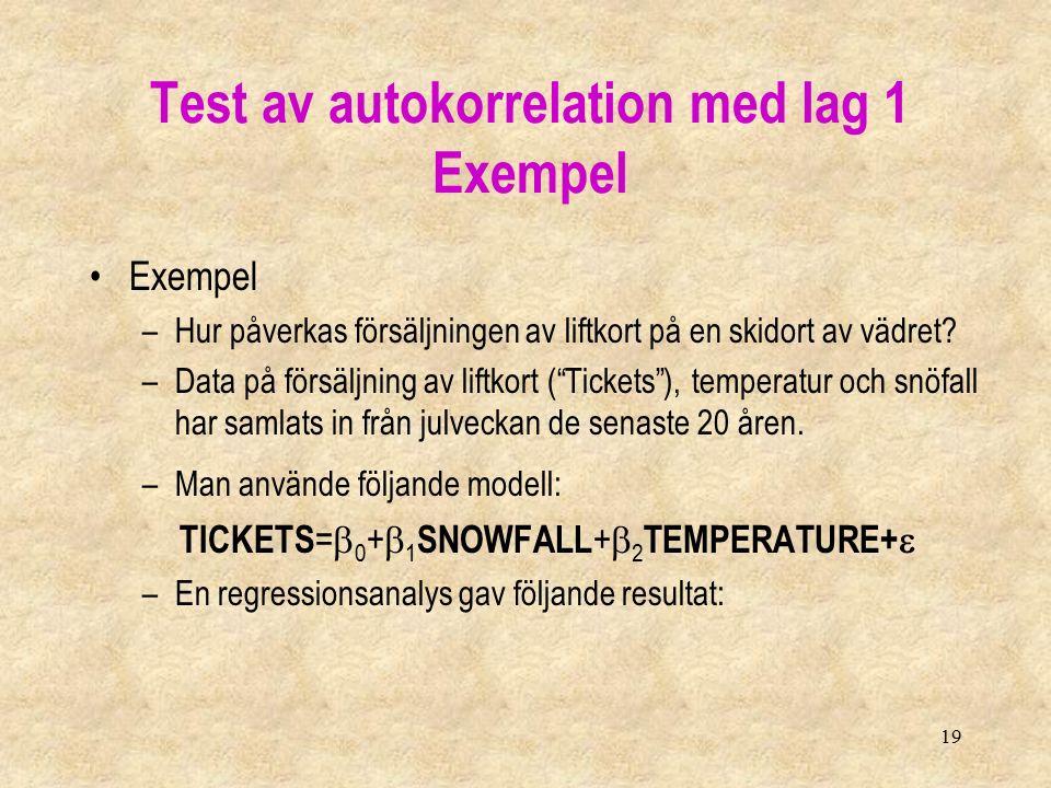 """19 Exempel –Hur påverkas försäljningen av liftkort på en skidort av vädret? –Data på försäljning av liftkort (""""Tickets""""), temperatur och snöfall har s"""