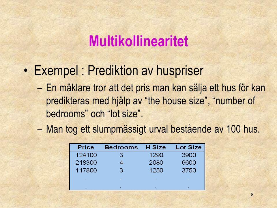 8 Multikollinearitet Exempel : Prediktion av huspriser –En mäklare tror att det pris man kan sälja ett hus för kan predikteras med hjälp av the house size , number of bedrooms och lot size .