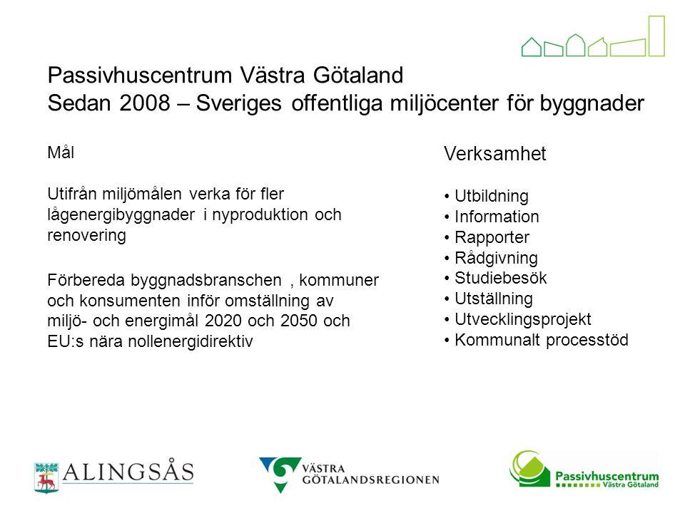 Passivhuscentrum Västra Götaland Sedan 2008 – Sveriges offentliga miljöcenter för byggnader Mål Utifrån miljömålen verka för fler lågenergibyggnader i