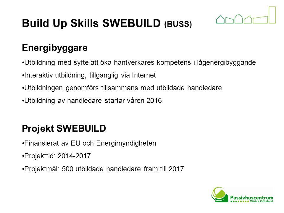 Build Up Skills SWEBUILD (BUSS) Energibyggare Utbildning med syfte att öka hantverkares kompetens i lågenergibyggande Interaktiv utbildning, tillgänglig via Internet Utbildningen genomförs tillsammans med utbildade handledare Utbildning av handledare startar våren 2016 Projekt SWEBUILD Finansierat av EU och Energimyndigheten Projekttid: 2014-2017 Projektmål: 500 utbildade handledare fram till 2017