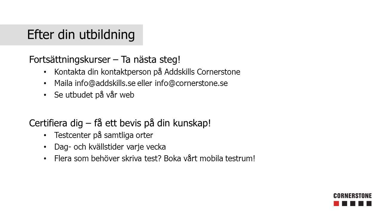 Efter din utbildning Fortsättningskurser – Ta nästa steg! Kontakta din kontaktperson på Addskills Cornerstone Maila info@addskills.se eller info@corne