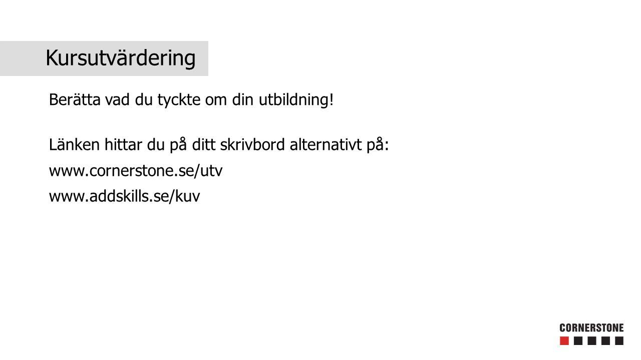 Kursutvärdering Berätta vad du tyckte om din utbildning! Länken hittar du på ditt skrivbord alternativt på: www.cornerstone.se/utv www.addskills.se/ku