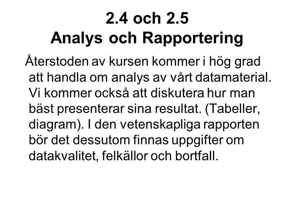 2.4 och 2.5 Analys och Rapportering Återstoden av kursen kommer i hög grad att handla om analys av vårt datamaterial.