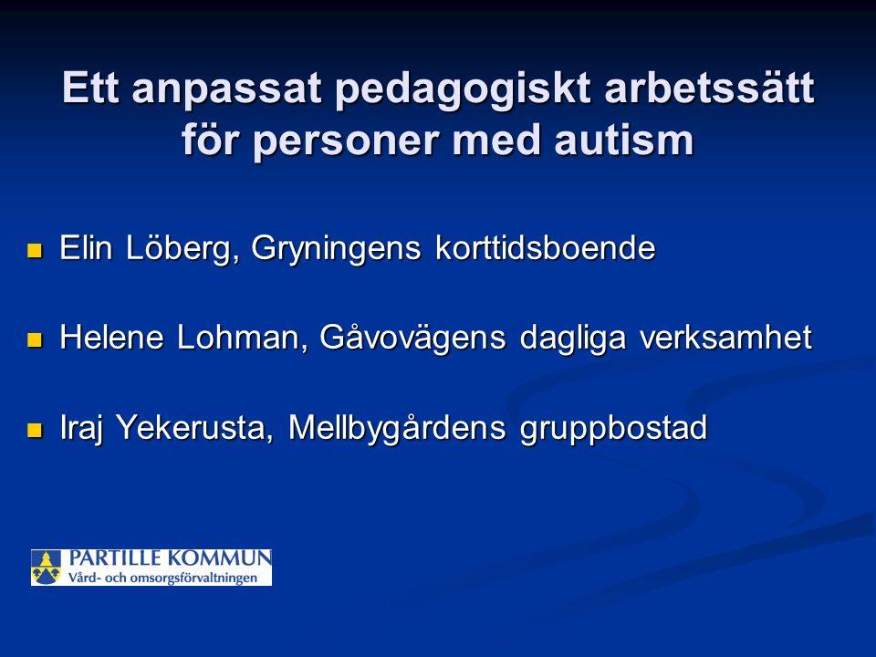 Ett anpassat pedagogiskt arbetssätt för personer med autism Elin Löberg, Gryningens korttidsboende Elin Löberg, Gryningens korttidsboende Helene Lohma