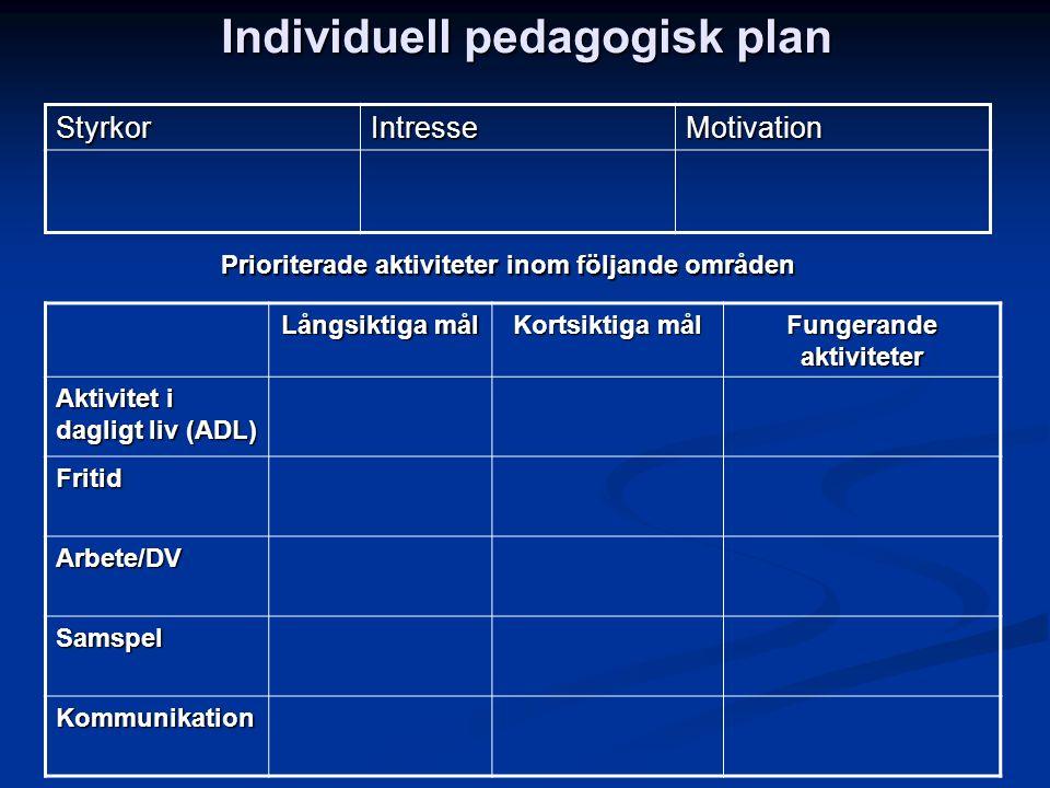 Individuell pedagogisk plan StyrkorIntresseMotivation Långsiktiga mål Kortsiktiga mål Fungerande aktiviteter Aktivitet i dagligt liv (ADL) Fritid Arbe