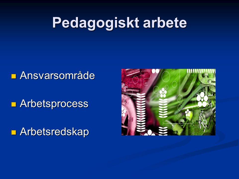 Pedagogiskt arbete Ansvarsområde Ansvarsområde Arbetsprocess Arbetsprocess Arbetsredskap Arbetsredskap