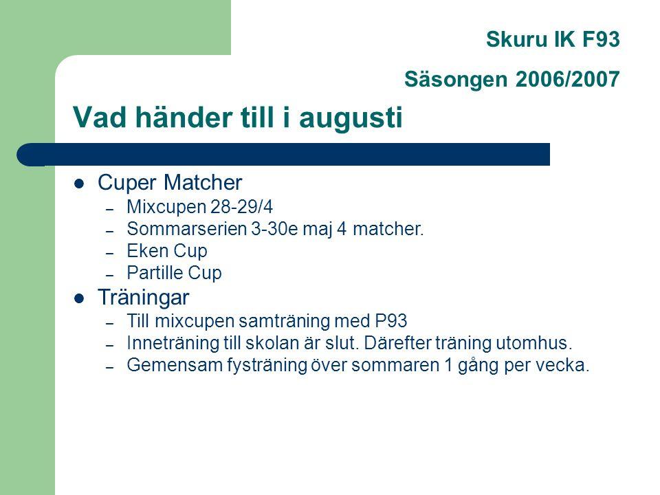 Vad händer till i augusti Skuru IK F93 Säsongen 2006/2007 Cuper Matcher – Mixcupen 28-29/4 – Sommarserien 3-30e maj 4 matcher.