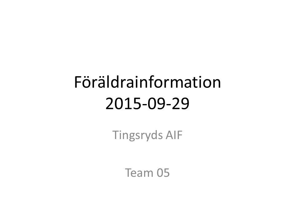 Föräldrainformation 2015-09-29 Tingsryds AIF Team 05