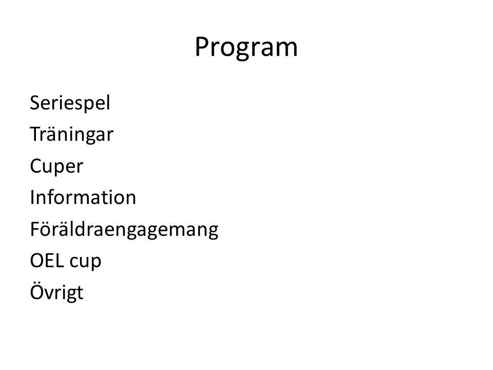 Program Seriespel Träningar Cuper Information Föräldraengagemang OEL cup Övrigt