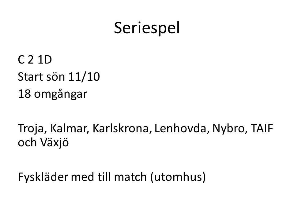 Seriespel C 2 1D Start sön 11/10 18 omgångar Troja, Kalmar, Karlskrona, Lenhovda, Nybro, TAIF och Växjö Fyskläder med till match (utomhus)