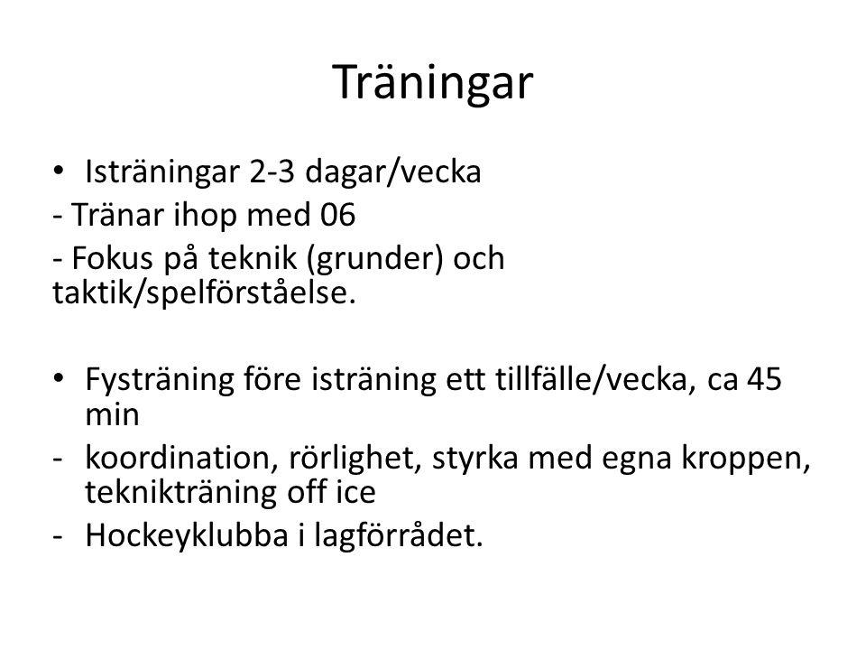 Träningar Isträningar 2-3 dagar/vecka - Tränar ihop med 06 - Fokus på teknik (grunder) och taktik/spelförståelse.